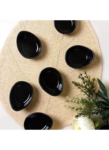 Keramika Keramika Siyah Mini Gondol Çerezlik/Sosluk 8 Cm 6 Adet Renkli